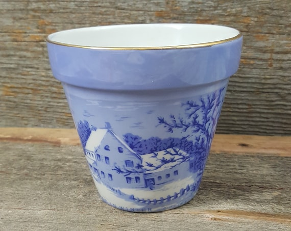 Blue and White Currier and Ives planter, The Homestead Winter by Currier and Ives, vintage blue and white flower pot, Currier and Ives