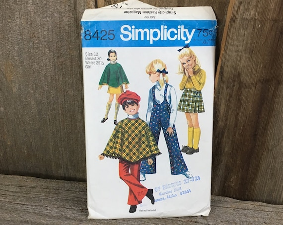 Vintage Simplicity 8425, Simplicity 8425, vintage childrens sewing pattern, little girls poncho sewing pattern, little girls vintage pattern