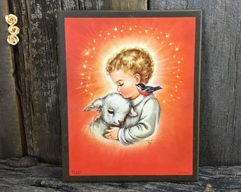 Adorable 1958 Child and lamb print on wood, Litho in Italy by Charlot Byj, Orange baby decor, vintage nursery decor, religious decor
