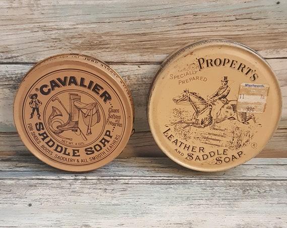 Vintage Saddle Soap tins, Cavalier Saddle Soap tin, Propert's Leather and Saddle Soap tin, vintage western decor, vintage ranch decor