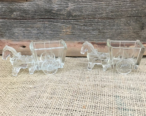 Vintage pair of glass mule and cart toothpick or sugar packet holders, pair of glass donkey and cart toothpick and sugar packet holders