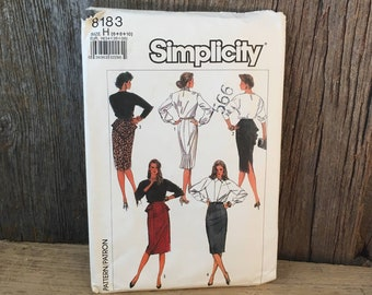 Vintage Simplicity 8183 sewing pattern, size 6-10 sewing pattern from 1987, easy to sew pegged skirt sewing pattern, 1980's pegged skirt