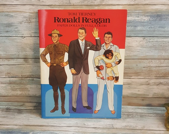 Tom Tierney's Ronald Reagan paper dolls in full color, unused complete Reagan paper dolls book, 1984 Ronald Reagan colorful paper doll book
