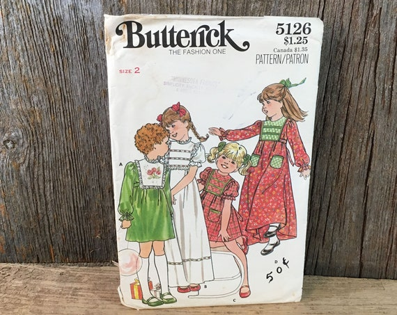 Vintage sewing pattern, complete uncut Butterick 5126, 1970's childrens dress pattern, size 2 childrens dress sewing pattern, girls pattern
