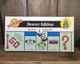 Vintage Denver Monopoly vintage games, 1996 Denver Monopoly, Denver Colorado Monopoly game, Denver Edition of Monopoly, The Mile High City