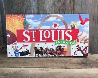 St. Louis in a box board game, vintage 1998 St. Louis Missouri board game, Monopoly type board game about St. Louis, City board game