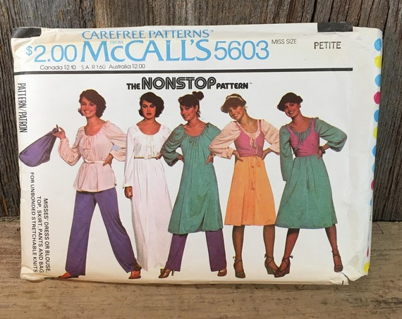 Vintage McCalls pattern 5603 from 1977,  McCalls petite size 6-8 sewing pattern, retro sewing pattern, full outfit pattern, vintage 1970's