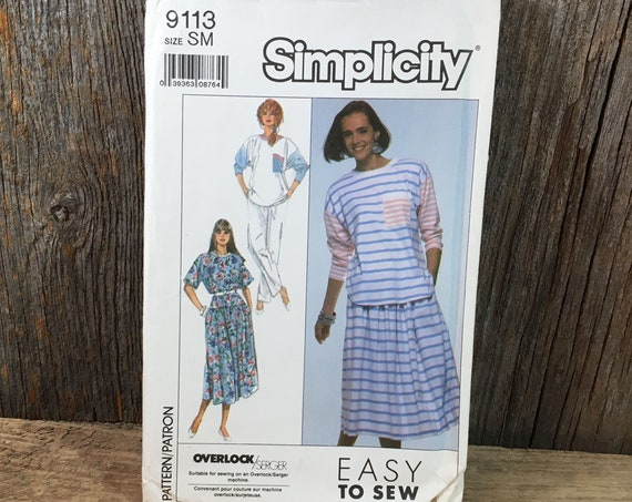 Simplicity sewing pattern, Simplicity 9113 size small 10-12, Simplicity top, skirt and pants pattern, vintage Simplicity pattern, 1989