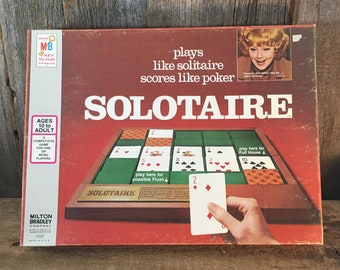 Vintage from 1973 Solotaire by Milton Bradley, plays like solitaire scores like poker, Lucille Ball endorsed game, vintage board card game