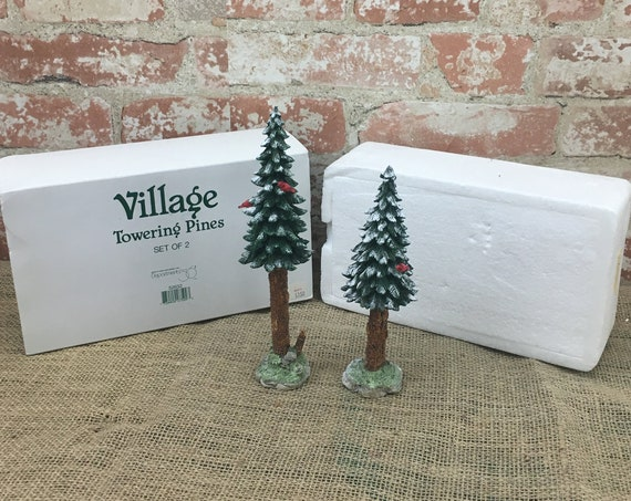 Dept 56 Village Towering Pines, Heritage Village Collection pine tree, Dept 56 snow covered porcelain pines, Dept 56 pair of pine trees