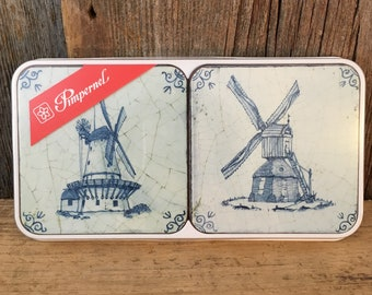 Vintage Windmill coaster from Pimpernel, Pimpernel Windmill coaster, Pimpernel Made in England coasters, melamine and cork windmill coasters
