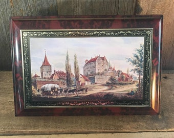 Vintage large limited edition German collectors biscuit cookie tin, large hinged tin, Lambertz biscuit tin castle design, large vintage tin