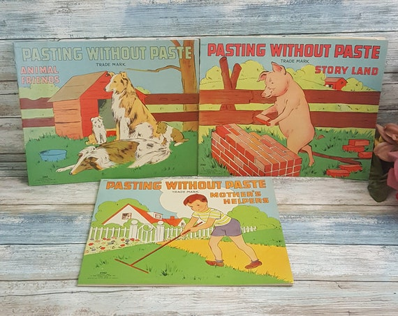 Vintage unused 1940's Pasting without Paste books, lot of three unused vintage sticker books, vintage childrens decor, old children's books