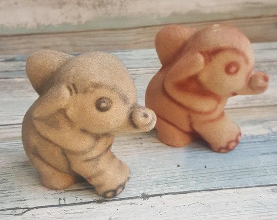 Super vintage fuzzy elephants, vintage pair of flocked elephants, baby elephant fuzzy figurines, baby elephant flocked figurines, elephants