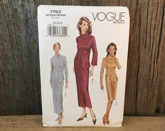 Vogue uncut sewing pattern 7763, uncut Vogue 7763,  size 18-22 Vogue sleek dress  pattern, size 18-22 sewing pattern, McCalla Vogue 7763