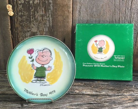 1972 Peanuts Plate, Schmid Peanuts collectors plate,Peanuts 1972 Mothers Day plates,Charles Schulz plates,First Edition Charles Schulz plate