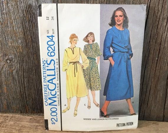 Vintage McCalls 6204, McCalls size 12 dress, size 12 sewing pattern, vintage McCalls dress pattern, 1978 sewing pattern, retro dress pattern