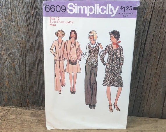 Simplicity pattern 6609, size 12 Simplicity 6609, Simplicity cardigan top skirt and pants pattern, 1974 sewing pattern, retro sewing pattern