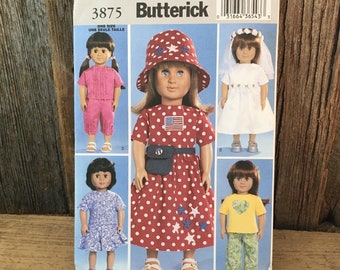 "Vintage uncut Butterick 3875 sewing pattern, doll pattern, American Girl doll clothes pattern, uncut doll clothes pattern 18"" doll clothes"