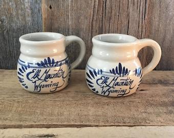 Vintage Elk Mountain pottery mugs, pair of vintage pottery mugs, Elk Mountain Wyoming pottery mugs, pair of vintage Wyoming mugs, Wyoming