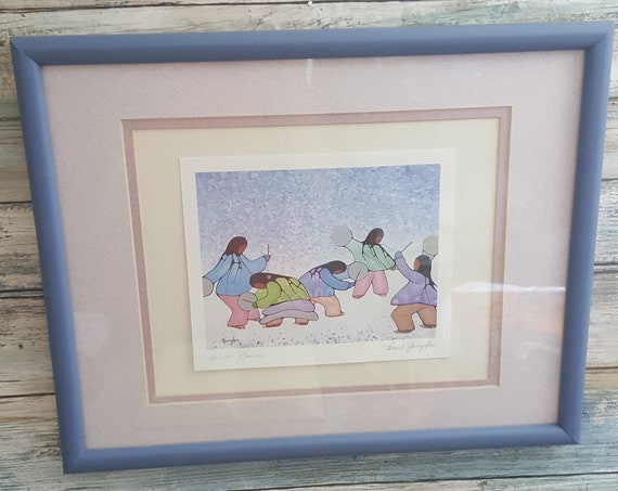 Beautiful signed Cecil Youngfox print, Winter Dancers Youngfox print, Canadian artist Cecil Youngfox, Canadaian art, Winter Dancers