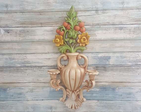 Beautiful Homco double sconce, Home Interiors floral wall sconce, double candle wall holder, Homco floral wall decor, Home Interiors decor
