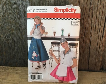 Simplicity 3847 Halloween costume pattern, Simplicity partially cut poodle skirt pattern, 50's style Halloween costume, Halloween pattern