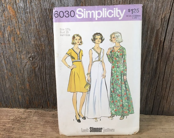 Simplicity pattern 6030, size 12 1/2 Simplicity pattern, vintage dress in two lengths for size 12 1/2, vintage 1973 dress sewing pattern