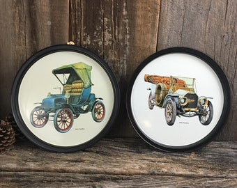 Vintage pair of old car serving trays, Peerless serving tray, Cadillac serving tray, man cave decor, bar decor, old car collectable tray