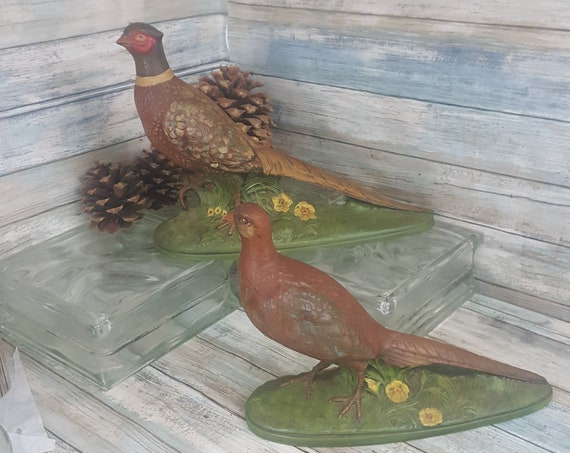 Vintage 1970's  ceramic Pheasant couple, pair of Holland mold hand painted Pheasants, man cave decor, cabin decor, ring neck pheasants