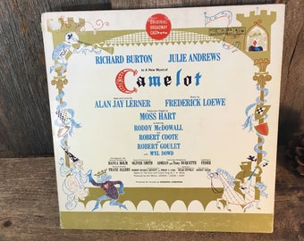Vintage vinyl record album, from the musical Camelot original cast musical album with Richard Burton and Julie Andrews, vintage soundtrack