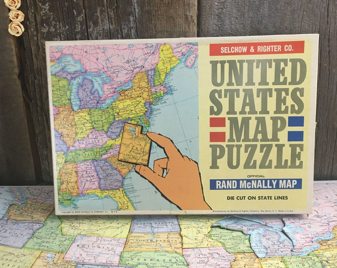 Featured listing image: Vintage 1960's puzzle map, Selchow & Righter map puzzle, vintage Rand McNally puzzle map, vintage United States puzzle map, US map puzzle