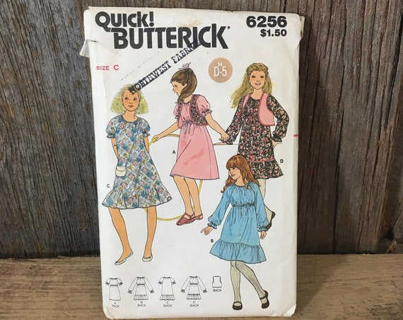 Vintage girls sewing pattern size 10-14, Quick Butterick 6256 sewing pattern, girls ruffled dress pattern, 80's girls dress and vest pattern