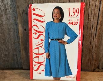 See and Sew 4437, vintage sewing pattern, vintage Butterick size 6-14 sewing pattern, Butterick 4437 see and sew pattern, vintage pattern