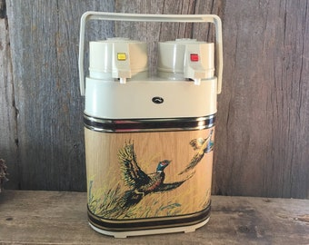 Vintage Kraftware double airpot thermos with pheasants designs, hot and cold airpot, double pump airpot by Kraftware with pheasant motif