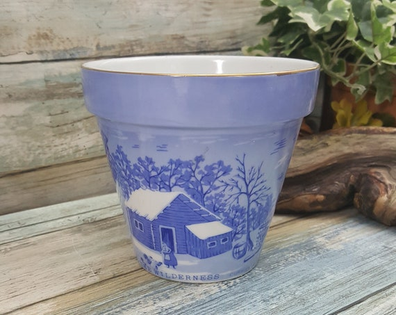 Blue and White Currier and Ives planter, A Home in the Wilderness by Currier and Ives, vintage blue and white flower pot, Currier and Ives