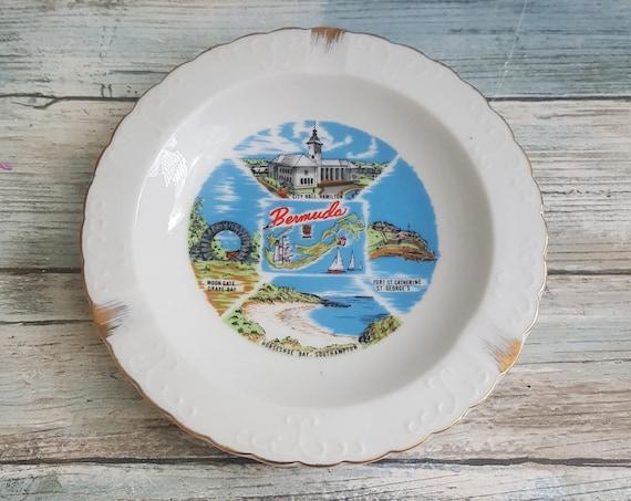Vintage Bermuda ashtray, Bermuda souvenir ashtray, Bial Bermuda made in Japan ashtray, porcelain ashtray, vintage ashtray collectable