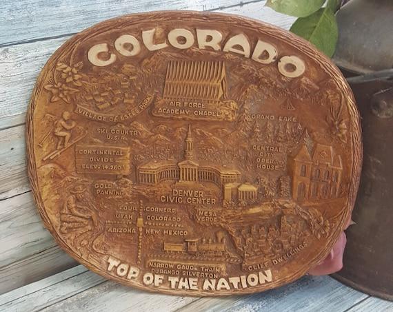Vintage Colorado souvenir piece, resin Colorado souvenir, faux wood State of Colorado novelty decor, vintage Colorado decor