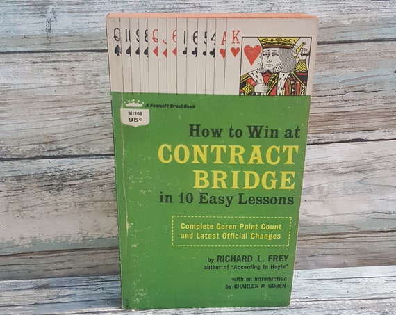 How to win at Contract Bridge book, 10 easy lessons, vintage book on how to play contract bridge, scoring and playing bridge, 1950's book