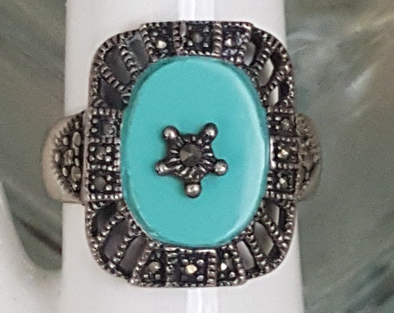 Beautiful 925 silver Marcasite and faux turquoise ring, size 9 vintage ring, Marcasite ring, faux turquoise ring, stamped 925 silver ring