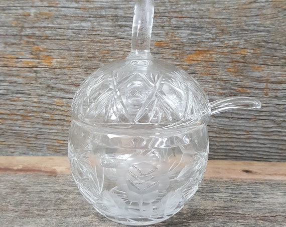 Vintage apple shaped glass sugar bowl with spoon, cut glass sugar bowl, sugar bowl shaped like an apple with forsted floral designs