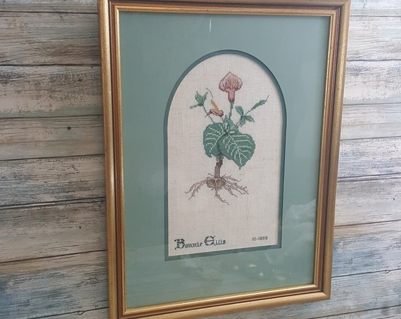 Beautiful vintage embroidery, vintage framed Bonnie Ellis 1989 flower and root embroidered art, framed embroidery wall art