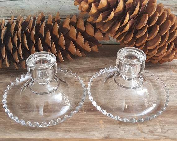 1940's Imperial Candlewick candlesticks, pair of Imperial Candlewick candlesticks, vintage glass candlesticks, glass beaded candlesticks