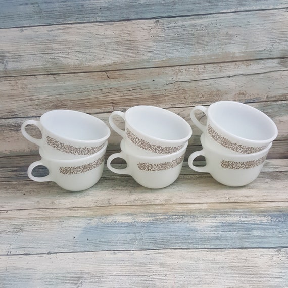 Vintage Pyrex coffee cups, six Woodland Brown Pyrex coffee cups, milk glass coffee cups, six Pyrex milk glass Woodland Brown coffee mugs