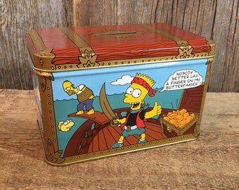 Vintage Bart Simpson Butterfinger bank tin from 1992, Simpson Nestle coin bank tin, Simpson Collectors tin, Simpson bank tin, Bart Simpson