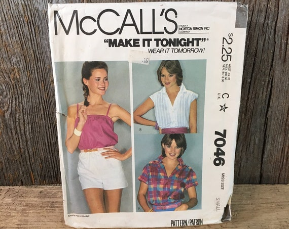 Vintage McCalls pattern 7046 from 1980 McCalls shirt and camisole sewing pattern, size small sewing pattern, camisole pattern,1980's pattern