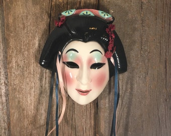 Geisha face hanging clay mask, vintage Japanese mask, Japanese Geisha painted mask, vintage painted mask, vintage oriental decor, clay art