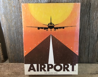 Vintage Airport, the Airline Game from 1972, vintage Airline game, Dynamic games, vintage rare board games, unusual board games, pilot gift