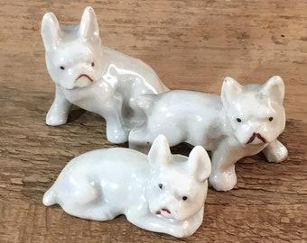 Miniature set of Boston Terriers, miniature dog figurines, made in Japan figurines, porcelain dog figurines, miniature porcelain dogs