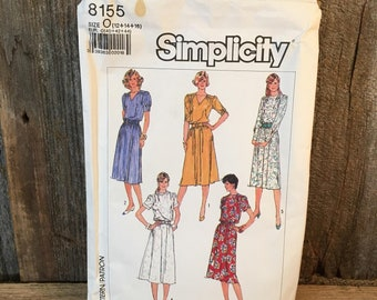 Vintage Simplicity pattern 8155, sewing pattern size 12, 14 16, 1987 uncut sewing pattern, uncut dress pattern, misses dress with neckline